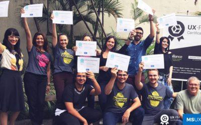 Parabéns aos novos profissionais que receberam a Certificação UX-PM 1 em janeiro/2018 em São Paulo!