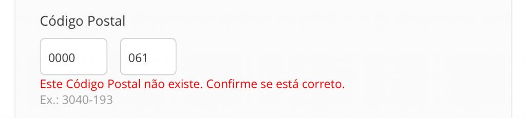 exemplo Mensagens de validação - design de formulários